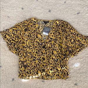 Topshop Yellow leopard blouse